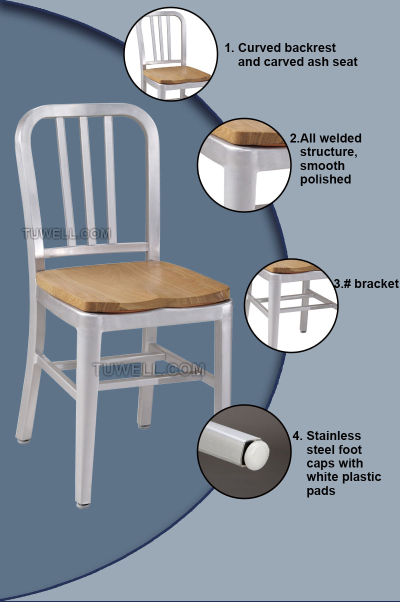 Tuwell-Best Tw1005-w Aluminum Navy Chair With Wood Seat Navy Chair Replica-6