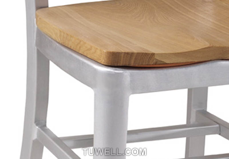 Tuwell-Best Tw1005-w Aluminum Navy Chair With Wood Seat Navy Chair Replica-8