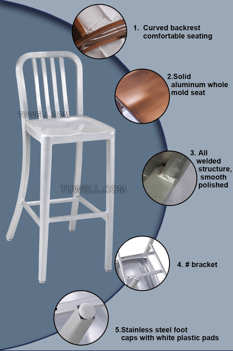 Tuwell-Professional Navy Dining Chairs Tw1004-l Aluminum Navy Barstool With Vertical-6