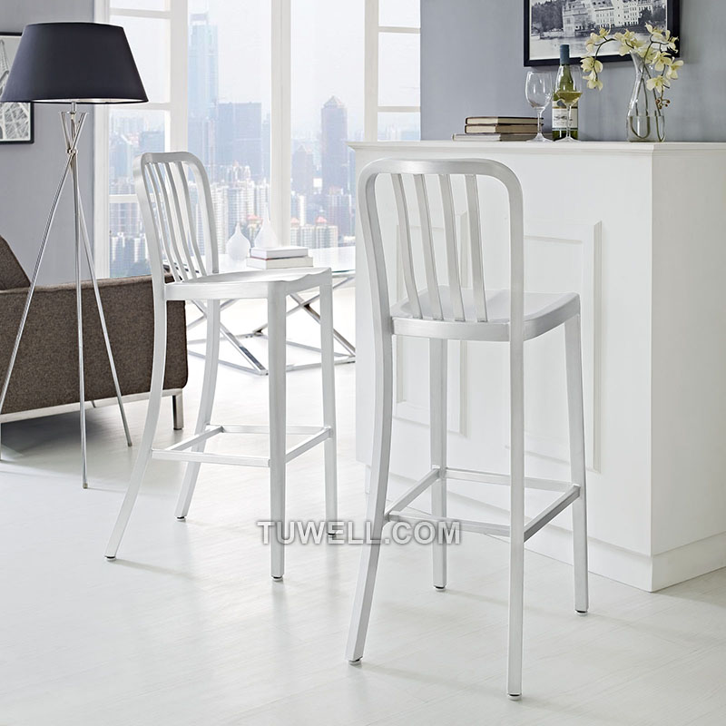 Tuwell-Professional Navy Dining Chairs Tw1004-l Aluminum Navy Barstool With Vertical-16