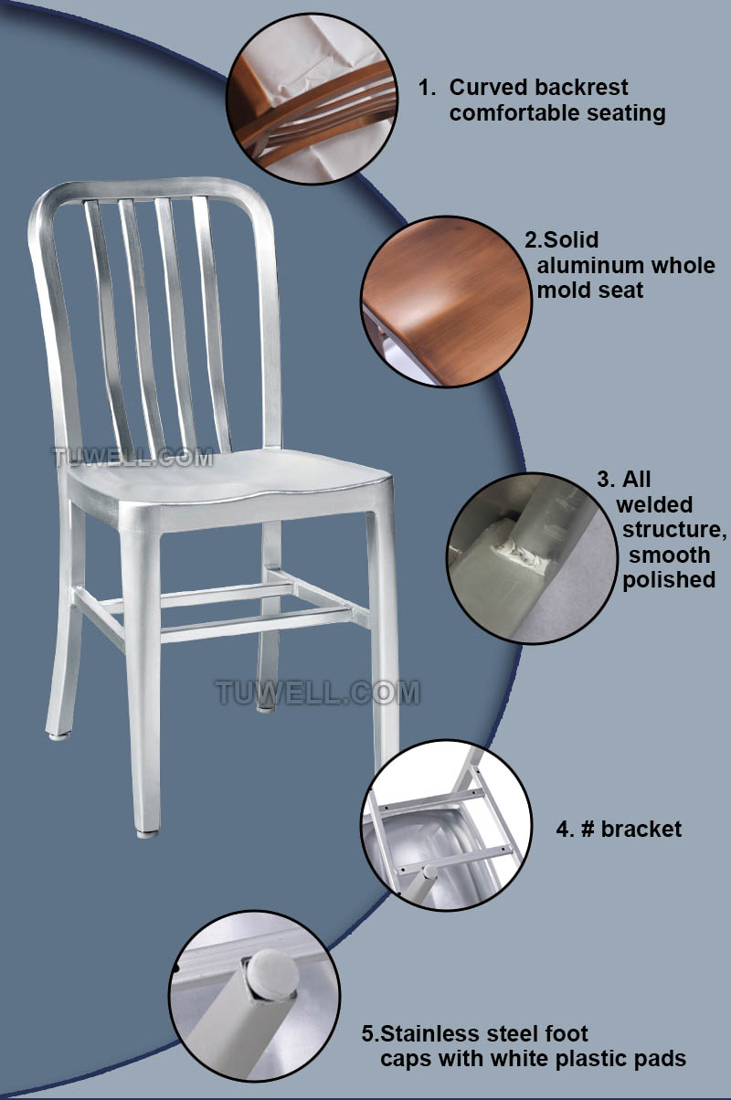 Tuwell-High Quality Tw1004 Aluminum Navy Side Chair Factory-6