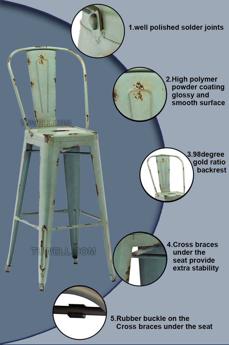 Tuwell-High Quality Tw8004 Steel Tolix Barchair | Tolix Chair-5
