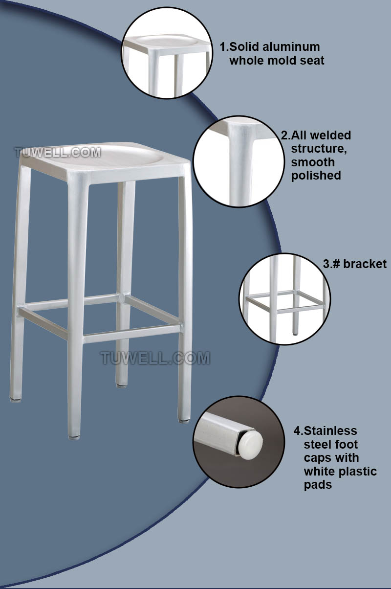 Tuwell-High Quality Tw1010-l Emeco Navy Square Barstool   Navy Chair-6