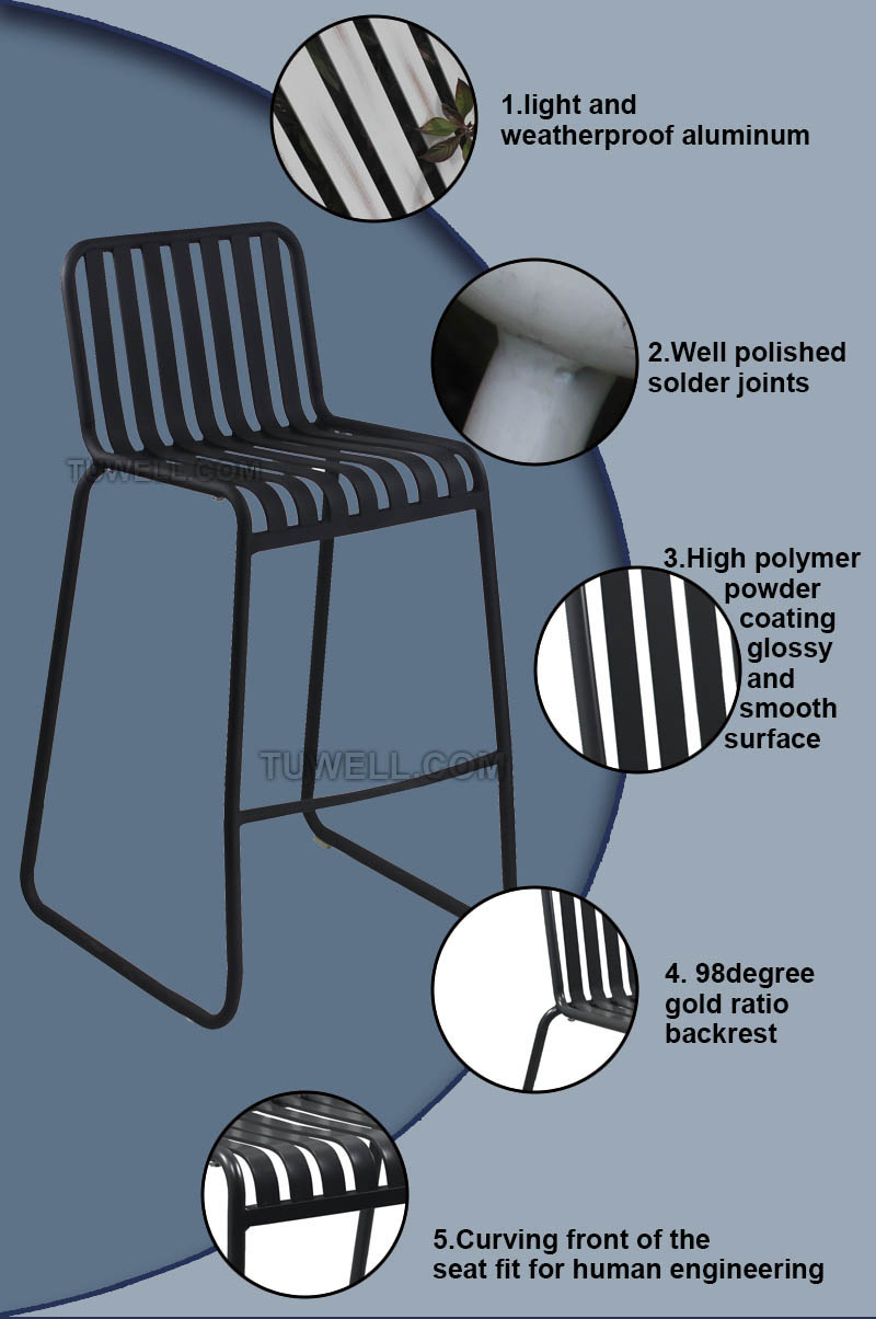 Tuwell-Tw8105-l Aluminum Barchair | Aluminum Outdoor Chairs | Aluminum Chair-5