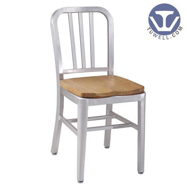 TW1005-W Aluminum Navy Chair with Wood Seat indoor and outdoor coffee chair American industrial style