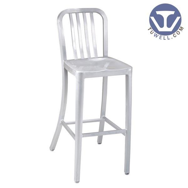 TW1004-L Aluminum Navy barstool with Vertical Slat Back indoor and outdoor strong Aluminum dinning chair coffee chair
