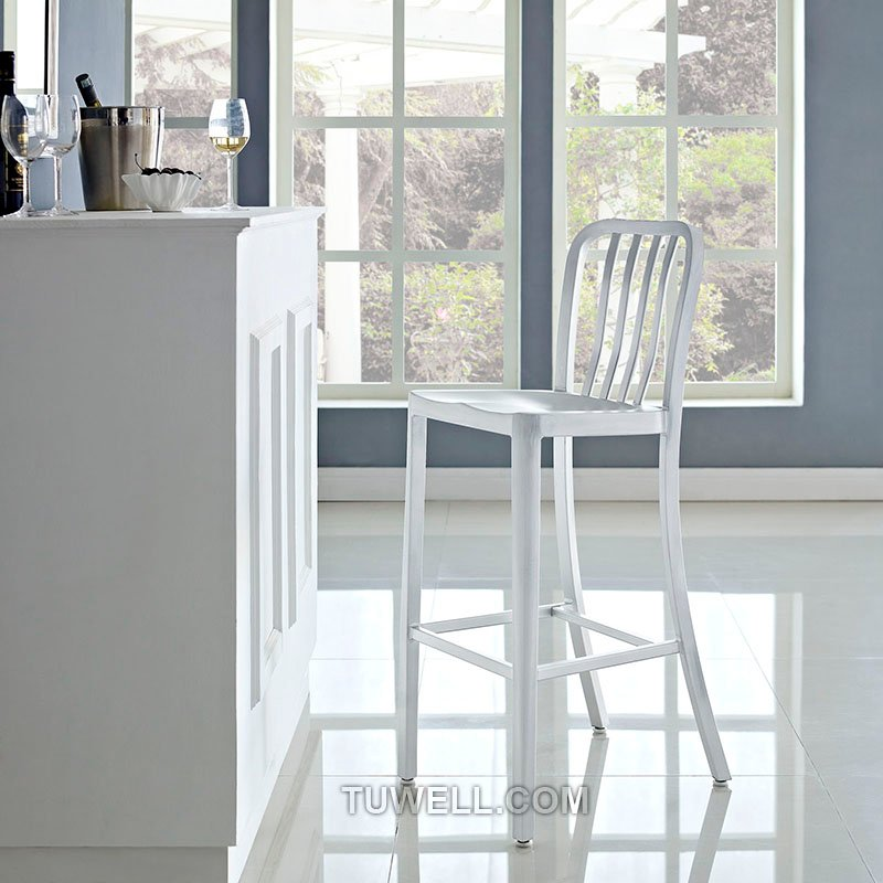 Tuwell-Professional Navy Dining Chairs Tw1004-l Aluminum Navy Barstool With Vertical-14