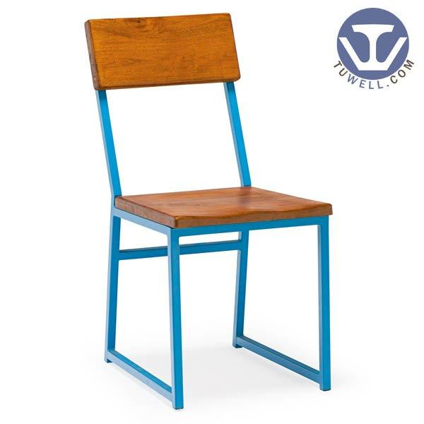 TW8623 Steel chair with wood seat pan and backrest Nordic style