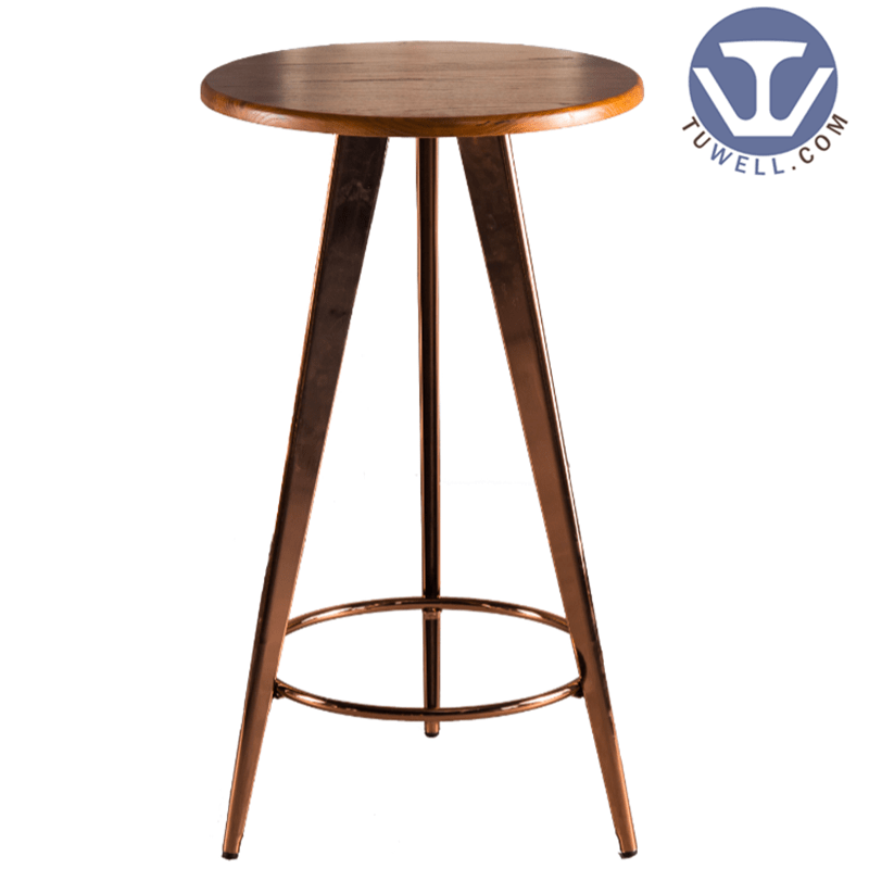 Tuwell TW7032-L Wood dining bar table cafe bar table Metal dining tables image3