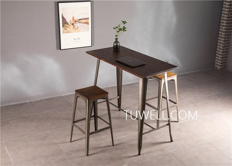 Tuwell-Find Tw7039-l Wood Dining Bar Table | Bar Height Dining Table-12