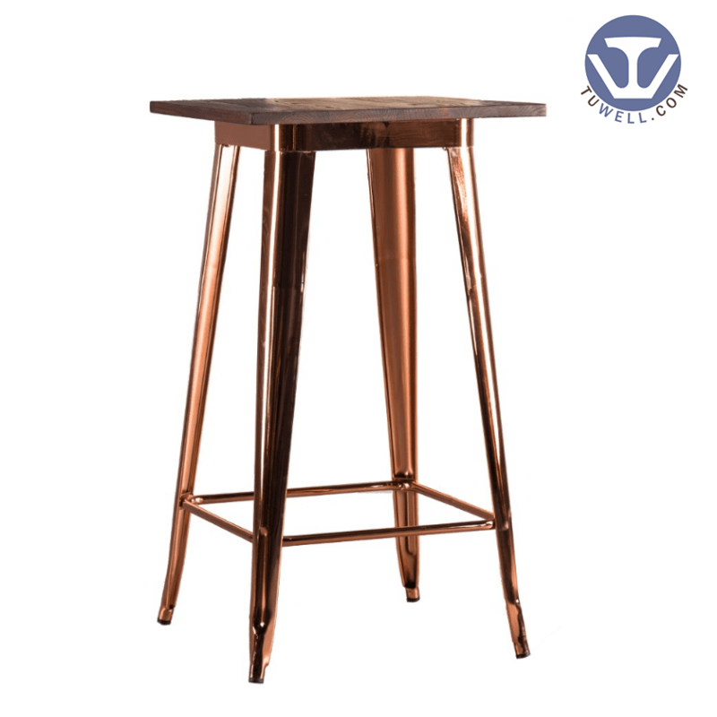 Tuwell TW8008-LW Wood dining bar table cafe bar table Metal dining tables image2