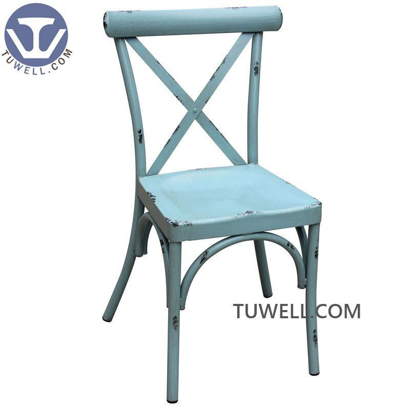 TW8725 Aluminum dining chair cross back chair restaurant chair