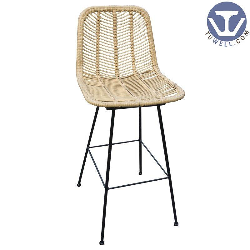 TW8726-L Rattan bar chair indoor and outdoor PE rattan furniture European leisure style with natural color