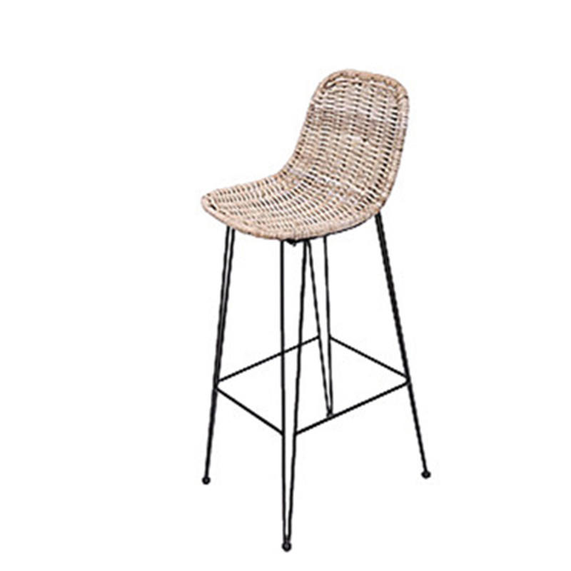 TW8729-L Natural Metal Rattan Bar Stool Dinning Chair