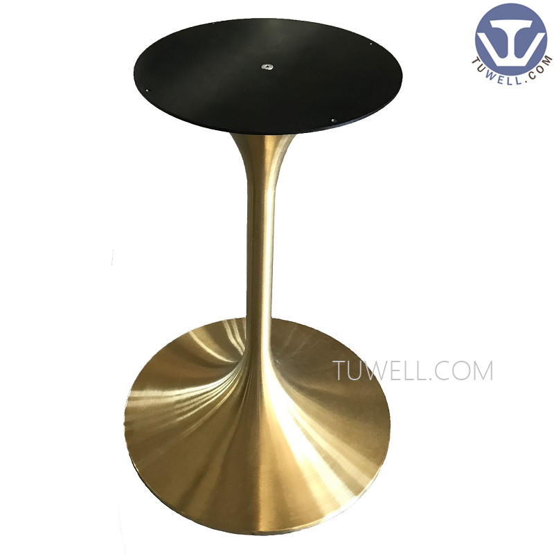 Tuwell- Stainless Steel Electroplating Gold Table Base   Round Metal Table-3