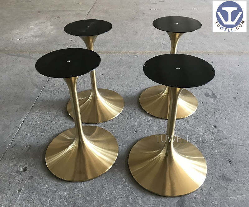 Tuwell- Stainless Steel Electroplating Gold Table Base   Round Metal Table-6