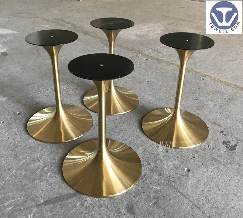 Tuwell- Stainless Steel Electroplating Gold Table Base   Round Metal Table-7