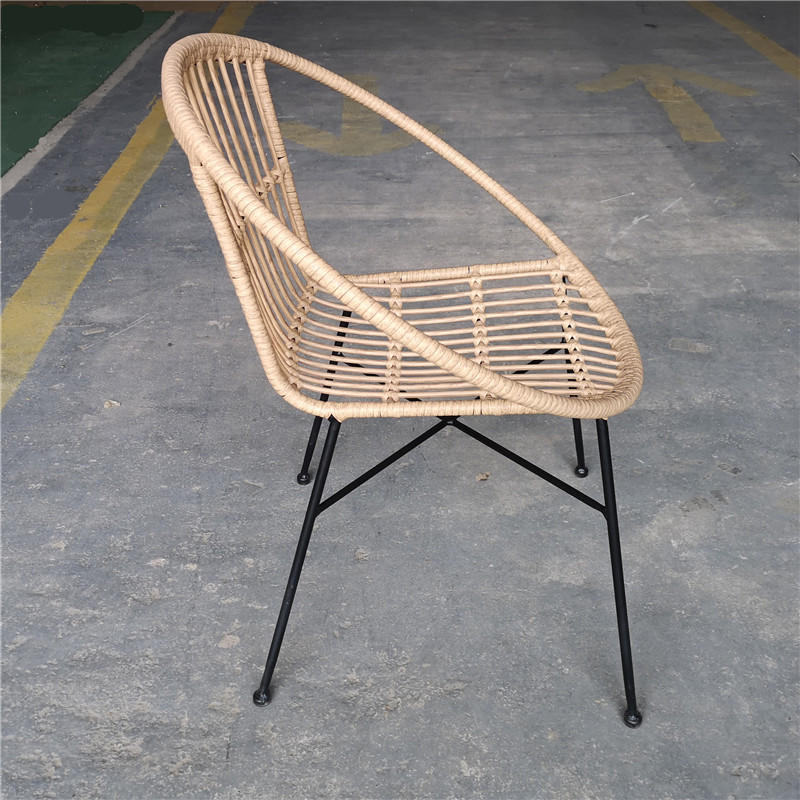 TW8778 metal Rattan chair beige color wicker dinning chair European leisure style for indoor and outdoor