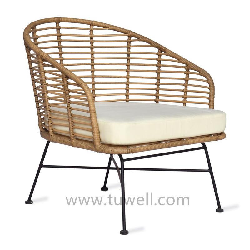 TW8781 Morden  Beige Color PE Plastic Wicker Dinning Chair
