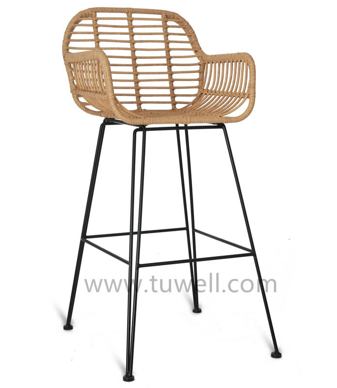 TW8785-L Rattan bar chair indoor and outdoor PE rattan barstool