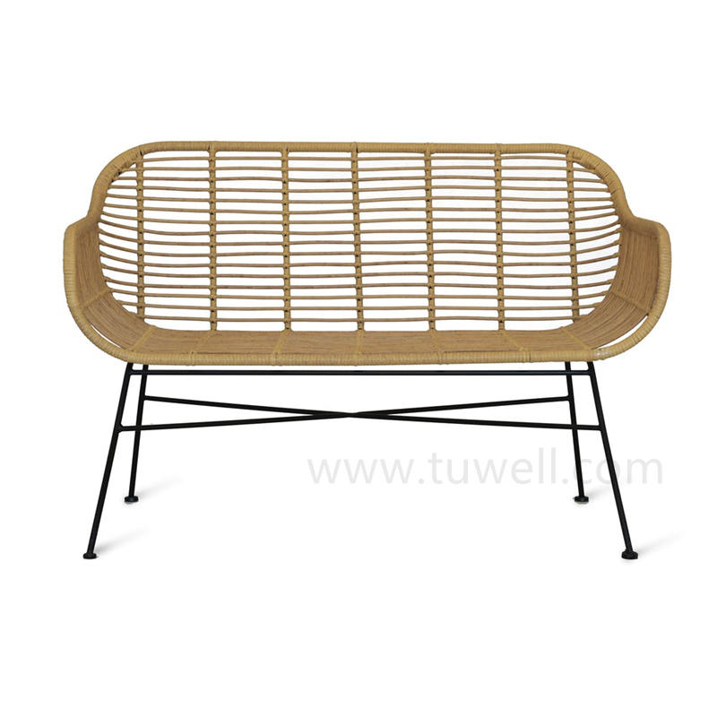 TW8782 Morden and Fashion beige color PE plastic rattan steel Bench