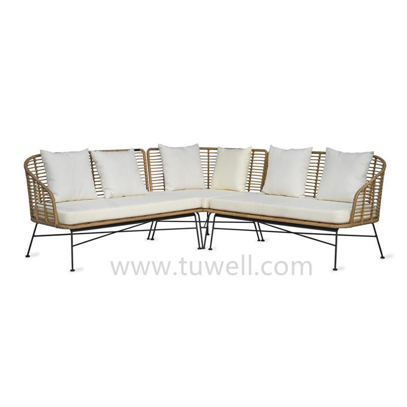 TW8783 Metal PE Rattan Garden Sofa