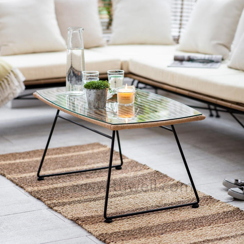 TW8786 Metal PE Rattan Coffee Table With Tempered Glass Top